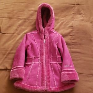Toddler Girl's Suede and Plush Winter Coat
